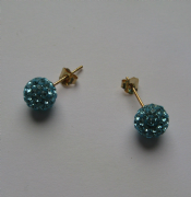 8mm Blue Crystal 9ct Gold Stud Earrings